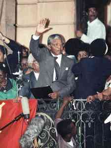 Mandela on the day he was released